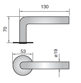 L Shaped 19mm Dia Levers 316l Stainless 38mm Centres 951509